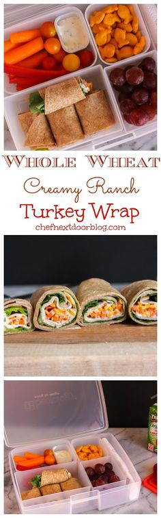 Whole Wheat Creamy Ranch Turkey Wrap from The Chef Next Door.  With a new school year right around the corner, it's time to start thinking about lunchbox ideas!   This Whole Wheat Creamy Ranch Turkey Wrap is simple to make and is healthy, delicious, and satisfying!
