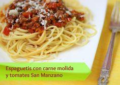 Espaguetis con carne molida y tomates San Manzano