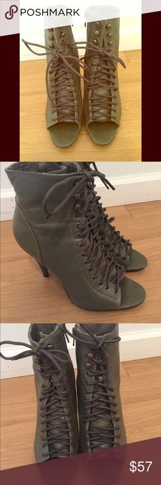 Green lace-up heels Army green lace-up heels with zipper enclosure, Only worn once.  Excellent condition! Shoes Heels