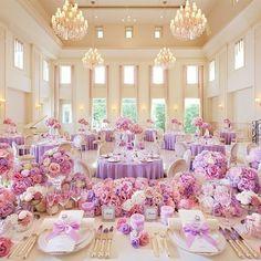 テーマは「Fairytale」♡プリンセスな装飾&運命のカラードレスをご紹介@ アニヴェルセル 豊洲 Purple Wedding Decorations, Quince Decorations, Wedding Themes, Wedding Colors, Lilac Wedding, Wedding Flowers, Dream Wedding, Wedding Day, Tangled Wedding