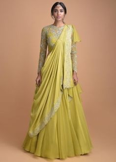 Buy Chartreuse Green Lehenga With A Pre Stitched Ruffle Dupatta And Embellished Crop Top Online - Kalki Fashion Designer Party Wear Dresses, Kurti Designs Party Wear, Lehenga Designs, Indian Designer Outfits, Indian Outfits, Lehnga Dress, Lehenga Choli, Anarkali Gown, Indian Lehenga