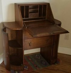 1920 1930 Short Drop Front Secretary Desk With Center Drawers And Rounded Side Cabinets 36w X 39h 16d Found It On Craigslist But Had Sold By The
