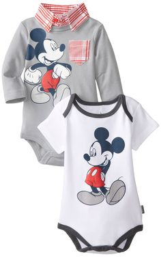 Disney Baby Boys Mickey Mouse 2-Pack Bodysuits with Collar and Pocket, Gray, 6-9 Months $12.99