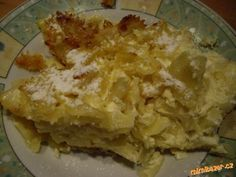 Zapečené těstoviny s tvarohem a vanilk.pudinkem
