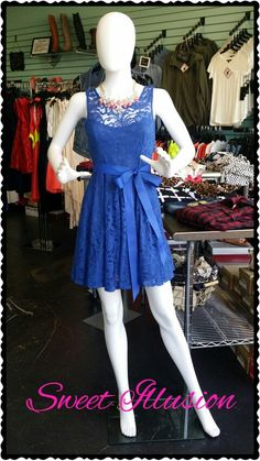 Royal blue lace dress with satin sash. Perfect for homecoming!
