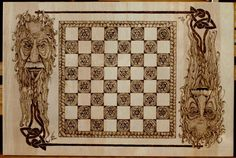 [pyrography art on wood chess board] by Donna Lee