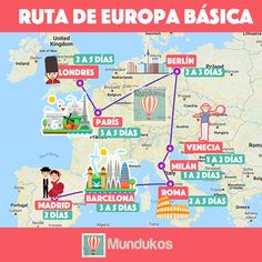 Un viaje por los países básicos de Europa normalmente comprende las principale. A trip through the basic countries of Europe usually includes the main cities of Spain, France, Italy, England and Ger Travel List, Travel Goals, Travel Guide, Places To Travel, Travel Destinations, Travelling Tips, Traveling, Eurotrip, Travel Scrapbook