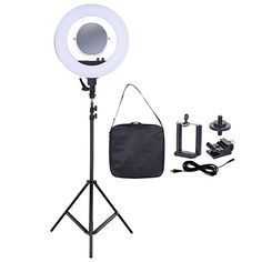 Andoer 18 Inch LED Video Ring Light Fill-in Lamp Studio Photography Lighting 50W 3200-5500K with Make-up Mirror Smartphone Holder Cold Shoe Base Carrying Bag + 2m/6.6ft Light Stand