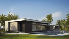 Modern - Not mid-century Modern House Plans, Modern House Design, Facade Design, Exterior Design, Style At Home, Studio Apartment Plan, Three Bedroom House Plan, Architectural House Plans, Prefab Homes