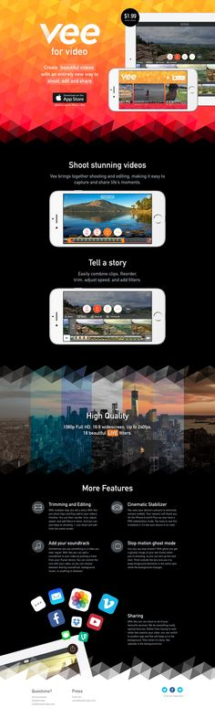 Colorful responsive One Pager for 'Vee for Video' - a new iOS video shooting and editing app.