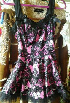 skull fairy butterfly  Hell Bunny dress sz small #HellBunny #Clubwear