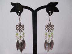 Boucles d'oreilles chandelier argenté et feuille métal