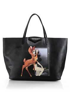 Givenchy Bambi Medium Shopper Tote - If it wasnt for the price tag I would have bought this and the bag in a second. I like the fact that it isn't only Bambi as it makes it feel a bit more mature. I saw the top at Selfridges and then the bags came up on this blog that I get daily updates from http://sheerluxe.com/2014/09/11/fashion-packs-fave-clutch-givenchy-rottweiler#.VN9Ff2SsWXw