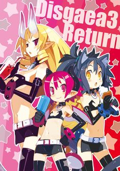2girls :o animal_ears belt black_hair blonde_hair bracelet breasts cat_ears chestnut_mouth choker cosplay disgaea drink elbow_gloves etna etna_(cosplay) food gloves hand_on_hip harada_takehito horns ice_cream jewelry large_breasts long_hair makai_senki_disgaea_3 multiple_girls navel official_art pink_eyes pink_hair pointy_ears ponytail popsicle raspberyl red_eyes ruchiru_(disgaea) rutile_(disgaea) short_hair smile stella_grossular tail thighhighs wings yellow_eyes