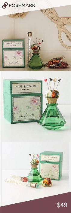 """Happ & Stahns 1842 Rose Alba Eau de Parfum Such a beautiful bottle!  The scent is a beautiful, rose scent  and the bottle comes in a cute box with decorative Victorian pins that you can pin to the top cushion of the bottle!  The bottle was inspired by the """"Grand Tour"""" and is a replica of an antique ink well.  This is sold out in stores because it was a popular scent.  From Anthropologie (of course, where else would this beauty come from? )!  Brand new in box!    2.5 fl oz.  Retails for $68…"""