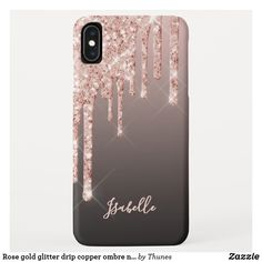 Rose gold glitter drip copper ombre name girly iPhone XS max case