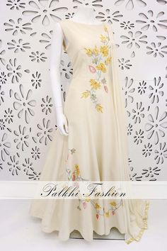 PalkhiFashion Designer Beige Soft Silk Outfit With Handwork & Beautiful Designs Indian Gowns Dresses, Indian Fashion Dresses, Indian Designer Outfits, Indian Outfits, Designer Dresses, Western Dresses For Girl, Stylish Dresses For Girls, Simple Dresses, Beautiful Dresses
