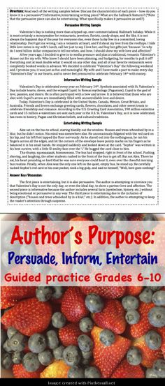 FREE Valentine's Day Close Reading Activity on Author's Purpose (c) Kristen Dembroski