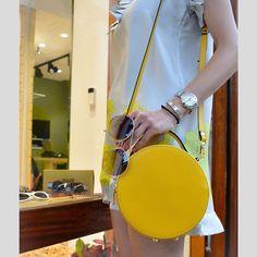 Create your own sunshine ☀️ . #yellowbag #leatherbag #circlebag #crossbodybag #sunglasses #nafpaktos #styleversabag #styleversa