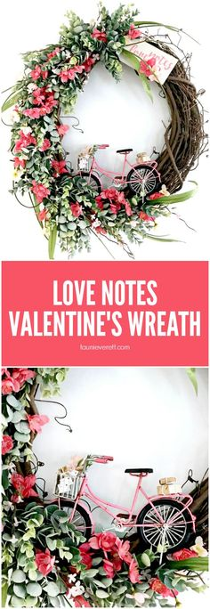 Love Notes DIY Valentine's Wreath. Celebrate love and welcome spring with this beautiful homemade wreath. Love Notes DIY Valentine's Wreath. Celebrate love and welcome spring with this beautiful homemade wreath. Diy Valentines Day Wreath, Homemade Valentines, Valentines Day Decorations, Valentine Day Love, Valentine Day Crafts, Holiday Crafts, Valentines Day Decor Rustic, Handmade Valentine Gifts, Valentine Ideas