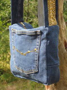 Denim Bag Whit Gold Pull-Tabs - Handmade-by-IrinaK - Shoulder Bags