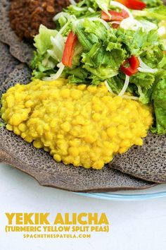 Feast: Yekik Alicha (Turmeric Yellow Split Peas) A milder, but amazingly flavorful Ethiopian stew that is heavenly scooped up with Ethiopian Injera bread! Ethiopian Injera, Ethiopian Lentils, Ethiopian Cuisine, Vegan Ethiopian Recipes, Ethiopian Bread, Pea Recipes, Lentil Recipes, Vegetarian Recipes, Cooking Recipes