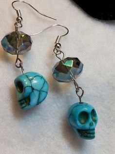 A personal favorite from my Etsy shop https://www.etsy.com/listing/246726966/turquoise-skull-and-crystal-earring
