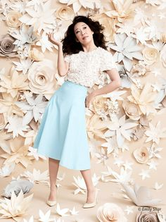 Paper flower wall, this is gorgeous. | Sandra Oh photographed by Emily Shur for Entertainment Weekly