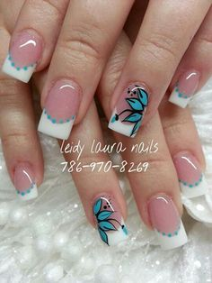 Florecita French Nail Designs, Acrylic Nail Designs, Nail Art Designs, Spring Nails, Summer Nails, Natural Acrylic Nails, French Tip Nails, Finger, White Nails