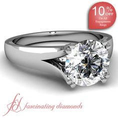 Round Cut Diamond 14K White Gold Solitaire Engagement Ring in Prong Setting || Duple V Ring