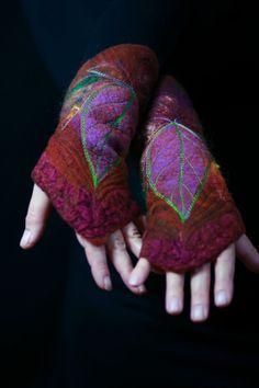 Felted Cuffs  Felted gloves  Arm warmers  Felt by FeuerUndWasser, $65.00