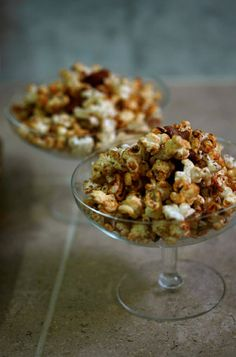 Maple bacon caramel corn. I say exchange the maple syrup with Boubon and you have yourself a snack.