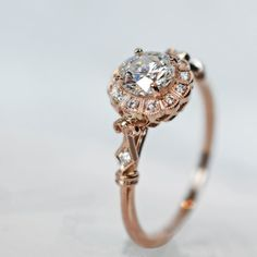 diamond and rose gold ring in an antique style JOLIE