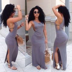 <3 that maxi dress and those curls!