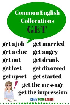 """English Collocations with """"get"""" - To truly learn English, you must learn and understand common collocations.Common English Collocations with """"get"""" - To truly learn English, you must learn and understand common collocations. Easy English Grammar, English Fun, English Idioms, English Language Learning, English Phrases, English Study, English Class, English Lessons, English Vocabulary"""