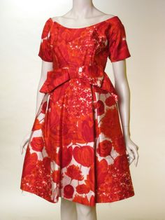 Dress and Jacket, Cristobal Balenciaga, France, Île-de-France: 1960, silk gauze-lined silk printed with flowers, very large horizontal bow attached center-front waist, asymmetric pieced bodice.