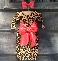 Custom gown, bow, baby girl, take home, going home, layette, infant gown, newborn gown on Etsy, $35.00