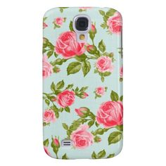 Girly Cottage Chic Romantic Floral Vintage Roses Samsung Galaxy S4 Cases