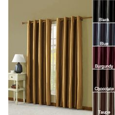@Overstock - Finish the look of any room with these solid lined curtain panels. Available in numerous color options, the window panels have a simple style that creates a timeless look. The grommet construction makes the floor-length curtains easy to hang.http://www.overstock.com/Home-Garden/Taffeta-Grommeted-84-inch-Curtain-Panel-With-Lining/7018511/product.html?CID=214117 $19.49