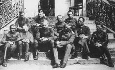 Manfred von Richthofen and others of Jasta 11 pictured in Roucourt, France, at the unit's new quarters. April 1917.  Also I will never be able to get over how adorable Kurt Wolff is.  Picture: www.pourlemerite.org