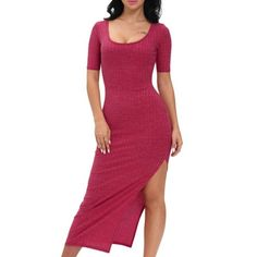 23.25$  Watch now - http://divys.justgood.pw/go.php?t=195679002 - Scoop Neck Side Slit Maxi Dress 23.25$