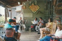 Bluegrass, country, and gospel music is usually heard Saturdays on the back porch of the Mast General Store in Valle Crucis. COURTESY OF GARY MCCULLOUGH