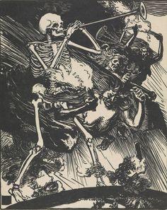 Auguste Louis Lepère ~ Death and Passions Descend upon the World, woodcut , 1914 Google Art Project, Medieval Art, Skull Art, Woodcut Art, Danse Macabre, Dance Of Death, Dark Art, Skeleton Art, Occult Art