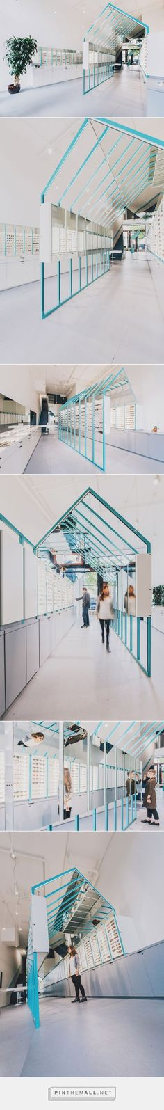 Eyeglasses are displayed within a steel-framed enclosure that resembles a house in this Seattle eyewear shop by local firm Best Practice Architecture. Design Set, Stand Design, Display Design, Booth Design, Signage Design, Design Commercial, Commercial Interiors, Visual Merchandising, Eyewear Shop
