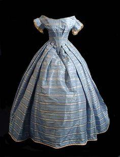 Blue silk striped dress, circa 1845