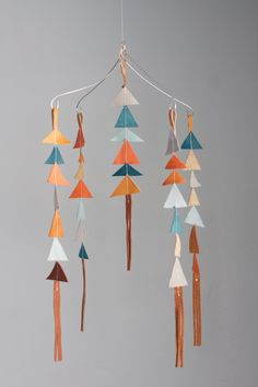 The Leather Triangle Mobile - so easy to make! #DIY #baby