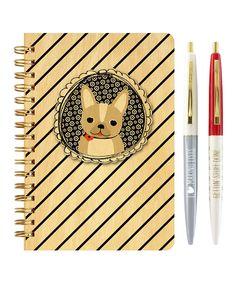 Frenchie List Maker Wood Notebook & Pen Set