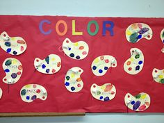 Mouse Paint inspired bulletin board