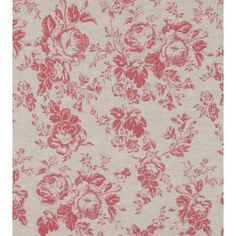 Beautiful rose print floral fabric in raspberry pink on natural linen, from Cabbages and Roses.  Suitable for blinds and curtains, light upholstery and soft furnishings.