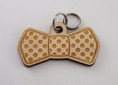 Dog Collar Bow Tie  Custom Wood Pet ID Tag Polka Dot by Cropscotch, $15.99